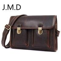 J.M.D Real Leather Men's Retro Double Buckle Three dimensional Handbags Shoulder Messenger IPAD Bag Briefcase 1021
