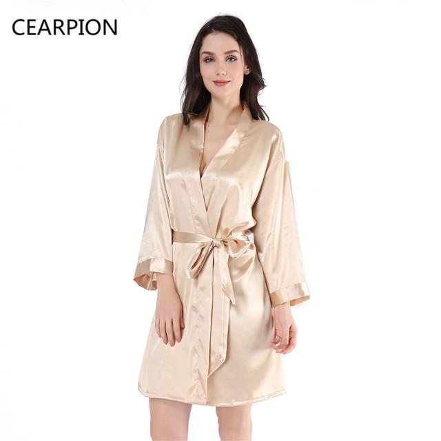 fc16e199d2 CEARPION Women Kimono Robe Bathrobe Sleepwear Female Satin Sleepwear  Nightgown Geisha Spa Bath Gown Sexy Negligee