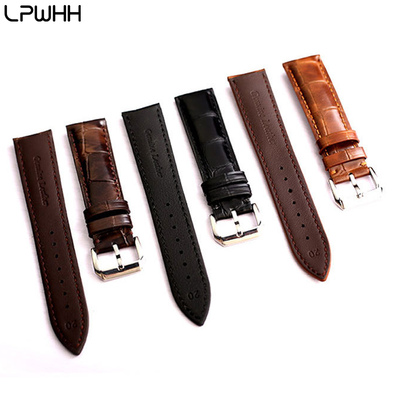 LPWHH Vintage Genuine Leather Watch Accessories 14mm 16 18 20 22mm 24mm Black Brown Natural Cow Watchband Wrist Bands