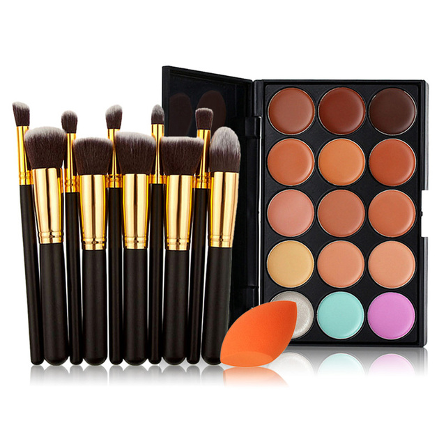 3 Types Women 15 Color Concealer + 10PCS Makeup Brush + Stonge Puff  Tool Set