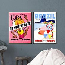 Cartel de anuncios de aerolíneas Vintage Brasil Braniff Havana Panama Kraft Posters pinturas clásicas de lona pegatinas de pared decoración del hogar regalo