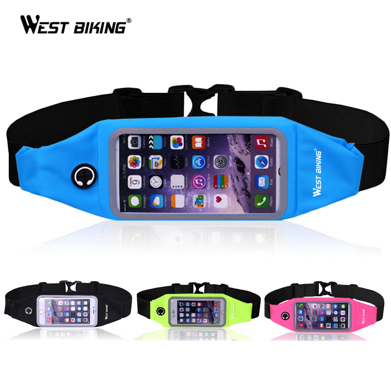 WEST BIKING Running Sport Waist Bag Screen Touch Waterproof Belt Pouch Phone Holder Adjustable Cycling Runnning Bag Bicycle Bags ...