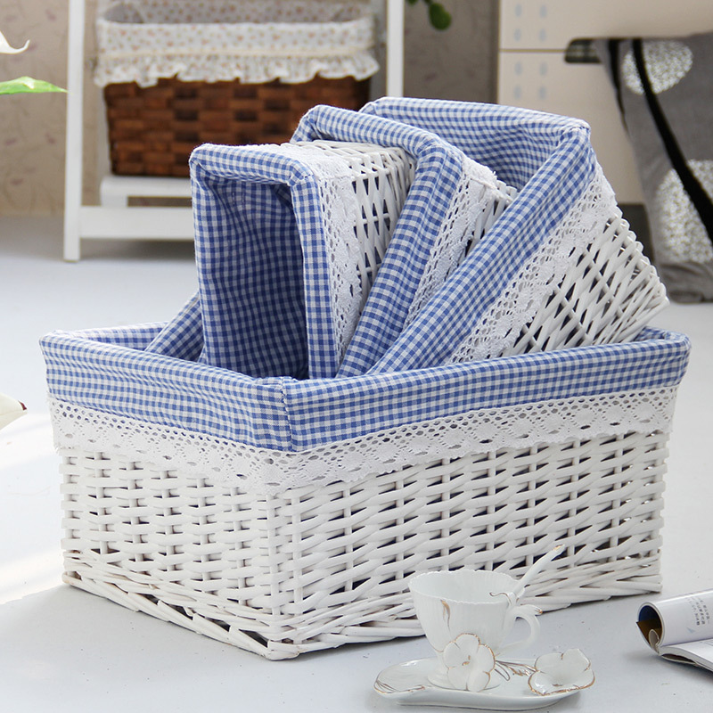 Pretty Natural Small Large Wicker Storage Basket With Natural Cotton Hemp  Lining, White ,coffice