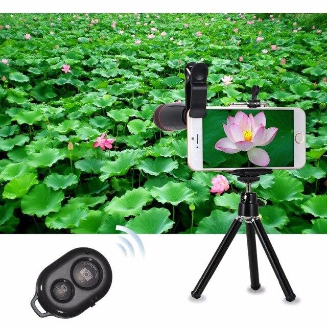 10in1 Lens Kit 12x Telephoto Lens + Fish Eye Lens+Wide Angle+Macro Lens Selfie Stick Monopod +Bluetooth Remote+Tripod For Phones 3