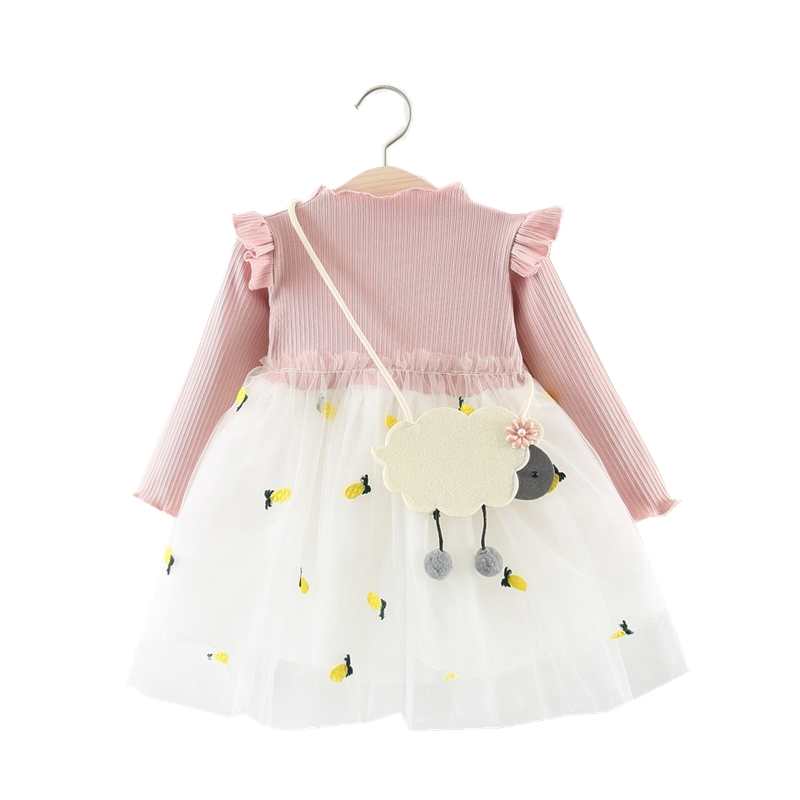 2019 Baby Girl Dresses Party And Wedding Birthday Princess Dress With Appliques Newborn Long Sleeve Cotton Dress For Baby Girls