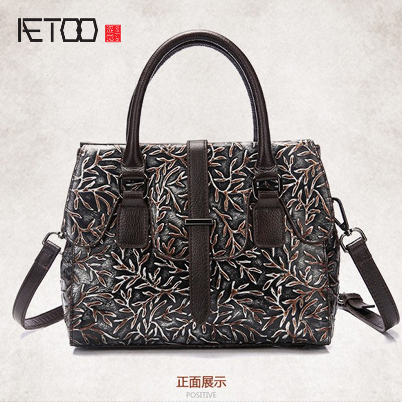 AETOO brand The new leather retro leisure handbag leather embossed color handbag shoulder bag messenger bag
