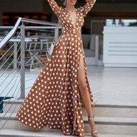 Bohemian Maxi Dress 2019 Women's Boho Sundress Polka Dots Split Sexy Dress Autumn Pleated Female Summer Plus Size Long Dress