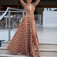 Bohemian Maxi Dress 2019 Women's Boho Sundress Polka Dots Split Sexy Dress Autumn Pleated Female Summer Plus Size Long Dress