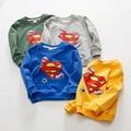 Дети мальчики девочки sweartshirts супермен руно длинные рукава хлопок пятно sweartshirt