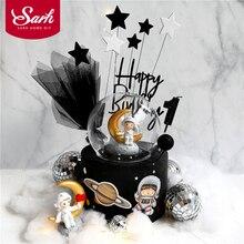 Rode Vlag Star Astronaut Decoratie Planeten Cake Toppers Gelukkige Verjaardag Voor Kinderen Dag Feestartikelen Mooie Geschenken