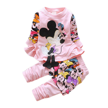 Infant Autumn Minnie Tracksuits Baby Girls Boys Clothing Set Children Mickey Mouse Jacket T-shirt Sweatshirts Pants Kids Suit