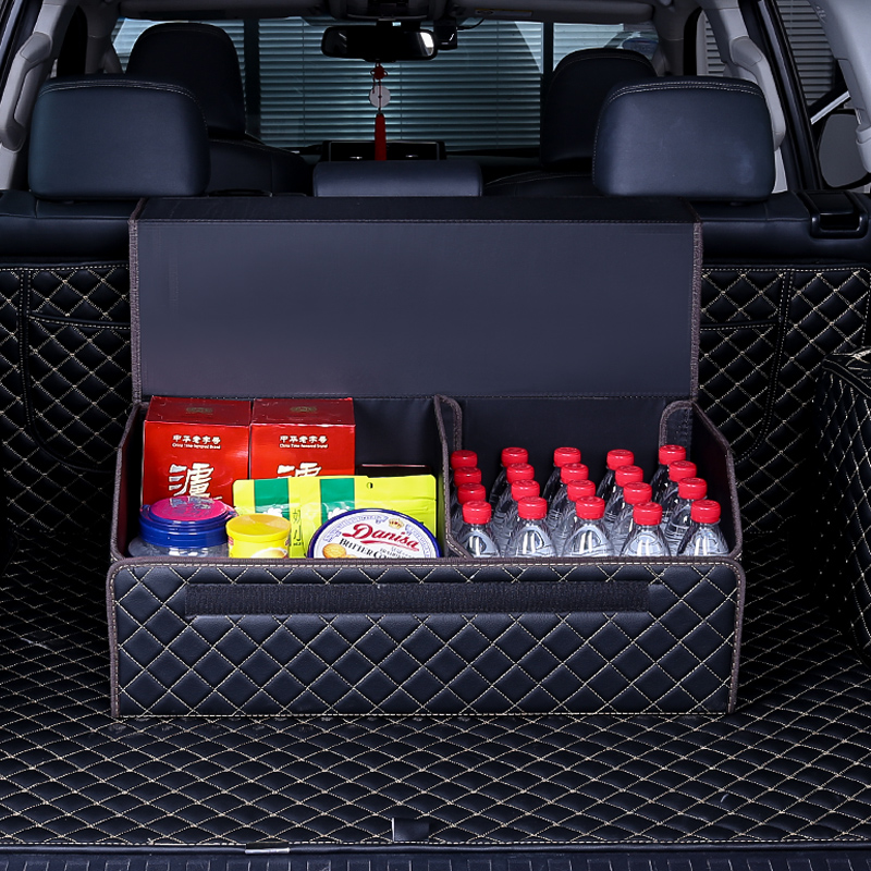 Autofans Auto PU Leather Collapsible Trunk Box Cardboard Boot Organizer Foldable Car Trunk Organizer Large Luggage Boot Box S03