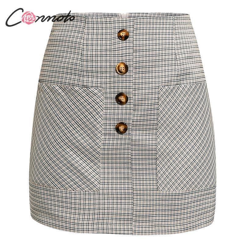 Image 5 - Conmoto 2019 Winter High Waist Skirts Women Button Casual Plaid Female Short Skirt Elegant Pocket Ladies Skirt-in Skirts from Women's Clothing
