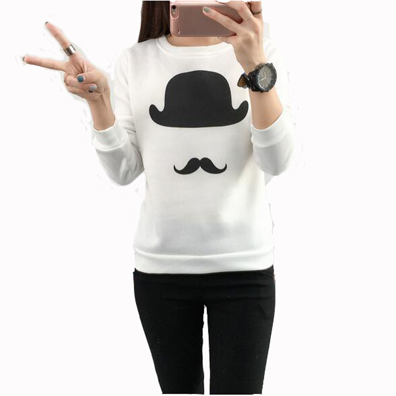 Fashion Casual Style Womens Hoodies Spring Autumn Mustache Print Long Sleeve O Neck Womens Tracksuits Loose Ladies Sweatshirt