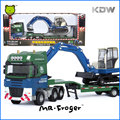 Mr.Froger Low Loader with Excavator Model alloy car model Refined metal Engineering Construction vehicles truck Decoration Toys