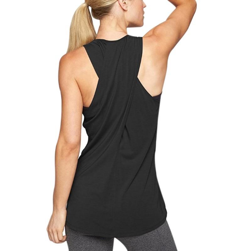 Для женщин Повседневное одноцветное Цвет Танки Топ Sexy Cross Back удобные футболки джоггеры спортивные Activewear тренировки одежда Топы