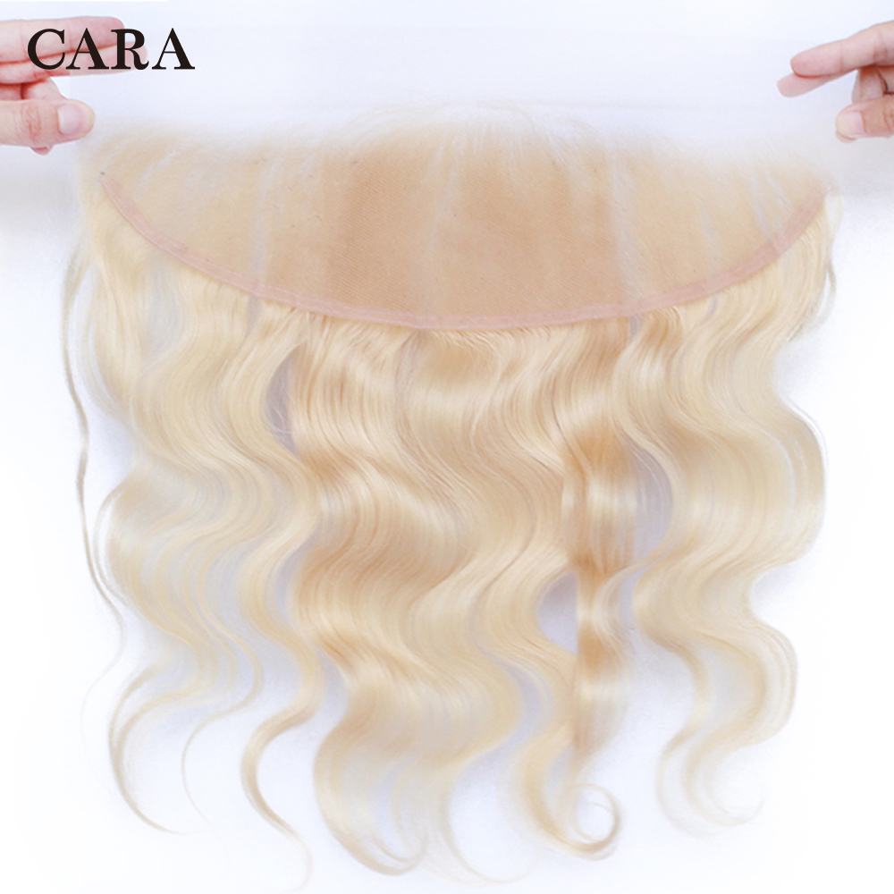 613 Blonde Transparent Lace Frontal Closure Body Wave Brazilian Remy Hair With Baby Hair Bleached Knots Pre Plucked CARA Hair image