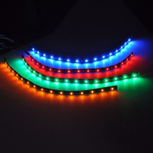 8PCS Hot  Waterproof  30cm 15 SMD 3528 Blue/Green/Red LED Flexible Strip Light Car Lamp DC 12V 18w 1200lm 635 700nm 300 smd 3528 led red light car flexible decoration strip dc 12v 500cm