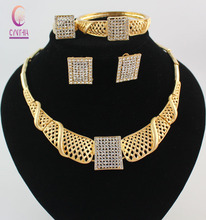 Women African Costume Jewelry Sets Gold S Plated Crystal Rhinestone Wedding Bridal Necklace Bangle Earrings Ring