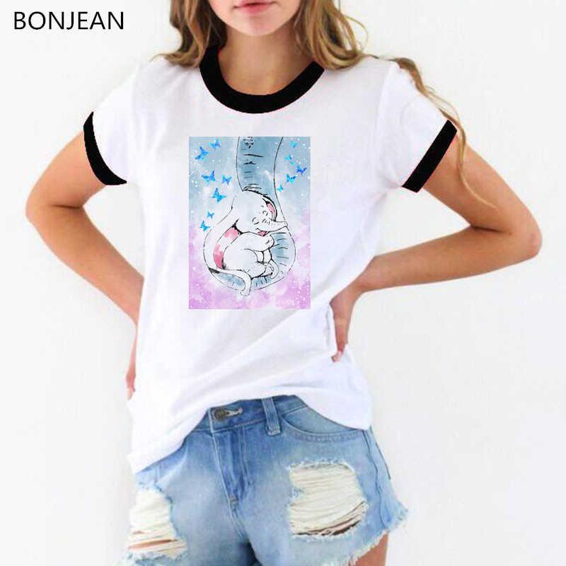 מצחיק בצבעי מים דמבו ואמו פיל הדפסת T חולצת נשים סופר אמא בעלי החיים Tshirts femme Harajuku kawaii חולצה חולצות
