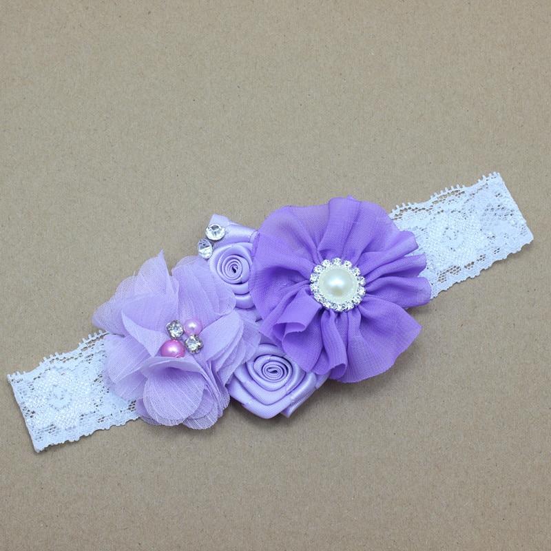 Diadema para bebé de encaje Flores con perlas y pedrería Niñas - Accesorios para la ropa - foto 3