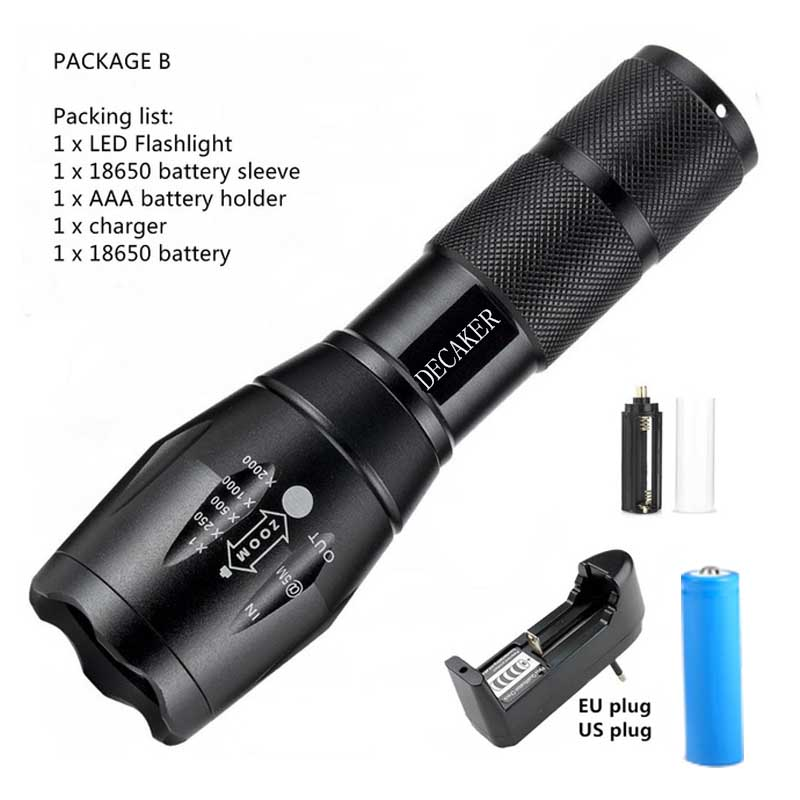Portable CREE XM-L T6 LED Flashlight 5 Modes Zoom 4000 Lumens Can Be 18650 Flashlight Led Torch Hunting Tactical Flashlight
