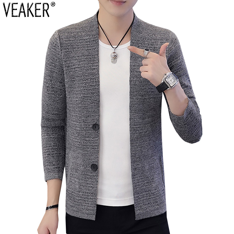 Outerwear Sweaters Cardigan Slim-Fit Men's V-Neck Autumn Male Casual New Black M-3XL