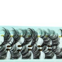 ใหม่ 10 คู่ 3D Mink ขนตาปลอม Criss   cross Fluffy ขยายขนตาธรรมชาติยาวตาแต่งหน้า Eylash Extension เครื่องมือ