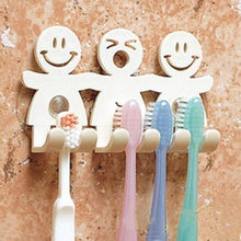 Cute Design Smile Suction Hooks 5 Position Tooth Brush Holder Bathroom Set Cartoon Sucker Toothbrush Holder for Home Decor F0237(China)