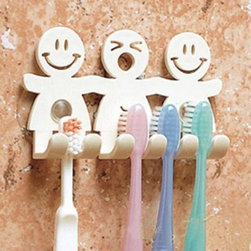Cute Design Smile Suction Hooks 5 Position Tooth Brush Holder Bathroom Set Cartoon Sucker Toothbrush Holder for Home Decor F0237