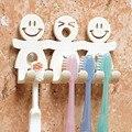 Nette Design Lächeln Saug Haken 5 Position Zahn Pinsel Halter Bad Set Cartoon Sauger Zahnbürste Halter für Wohnkultur F0237-in Badezimmer Zubehör-Sets aus Heim und Garten bei