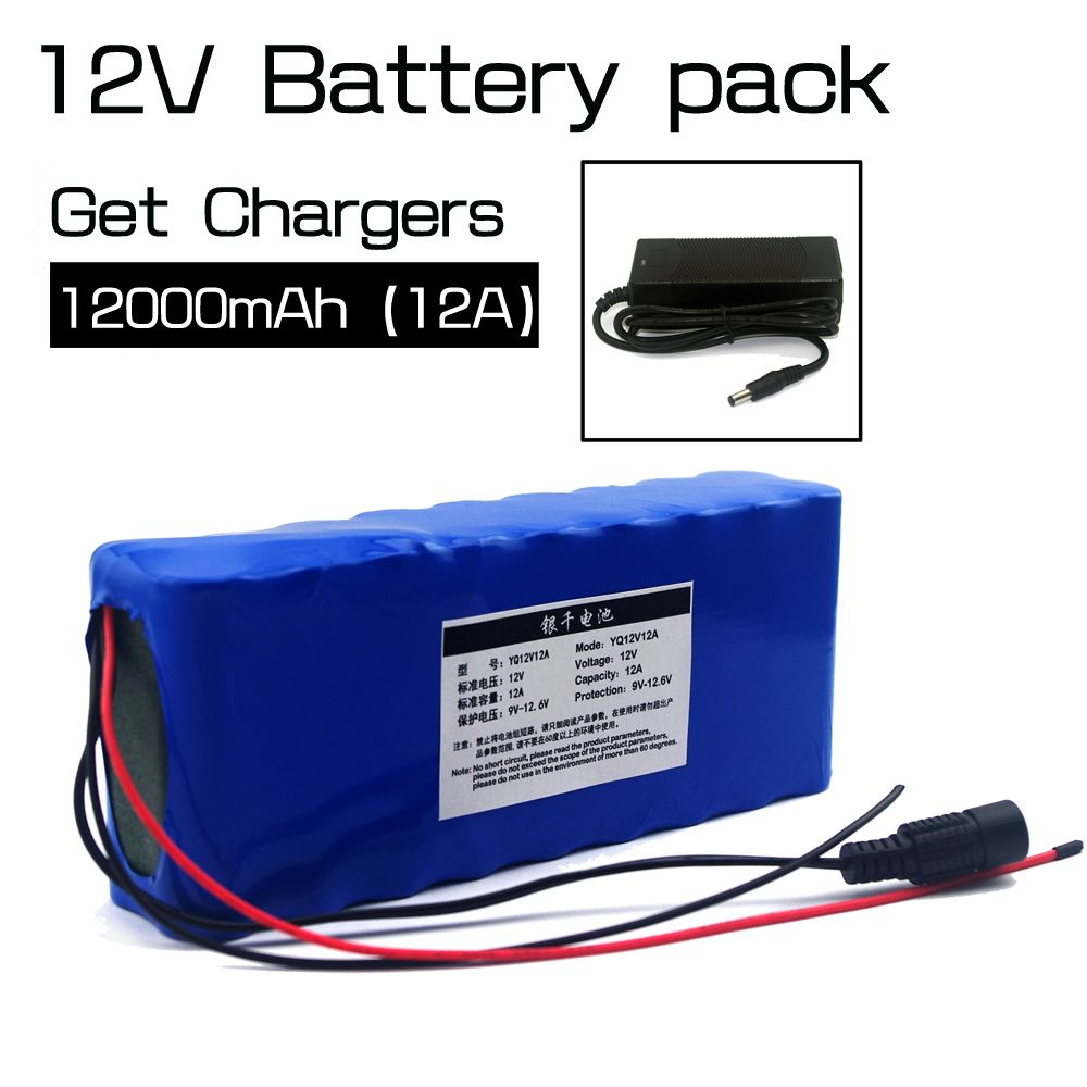 цена на 12 V 18650 Lithium-ion Battery Pack 12Ah Protection plate 12.6V 12000mAh Hunting lamp xenon Fishing Lamp USE +12V 3A Charger