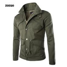 ZOEQO, новинка, Высококачественная военная куртка, британский стиль, темперамент, тонкий, большой размер, мужские куртки, Армейская, много карманов, хлопковая куртка