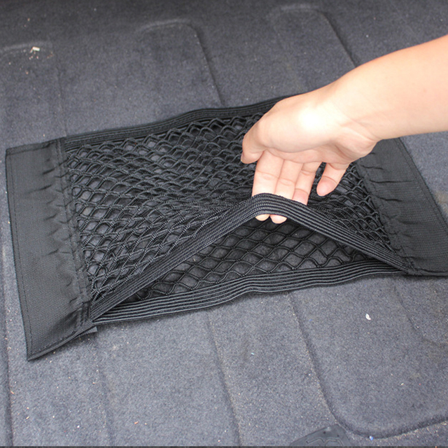 40x25cm Car Trunk Storage Elastic String Net Mesh Bag Car Magic Tape Sticking Holder Pocket Organizer Car Accessories Styling