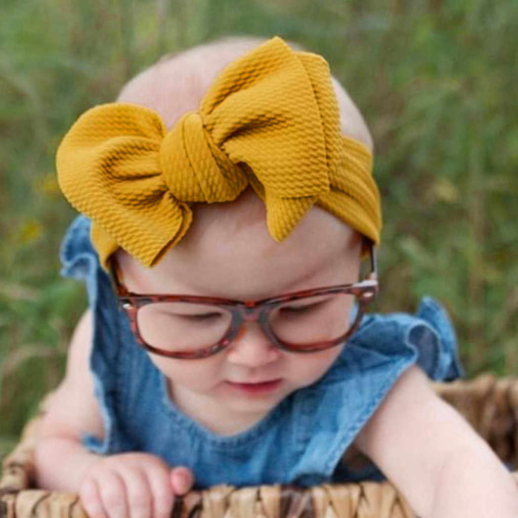 Toddler Baby Girl Bowknot Headband Kids Girl Big Bow Hairband Solid Color Turban Knot Cute Headband Fashion Headwear Accessories