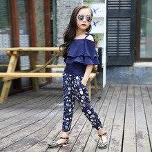 Summer Korean girls teens clothing set children off shoulder Top+Pants suit 2pcs kids floral clothes set 8 9 10 11 12Y