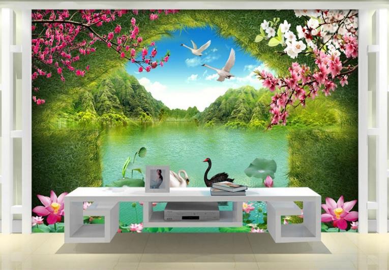 custom 3d mural wallpaper for walls Swan Lake mural wallpaper living room background tv background wallpaper  Обои