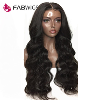 Fabwigs 180% Density Lace Front Human Hair Wigs Pre Plucked Peruvian Body Wave Lace Front Wigs for Women Natural Black Remy Hair