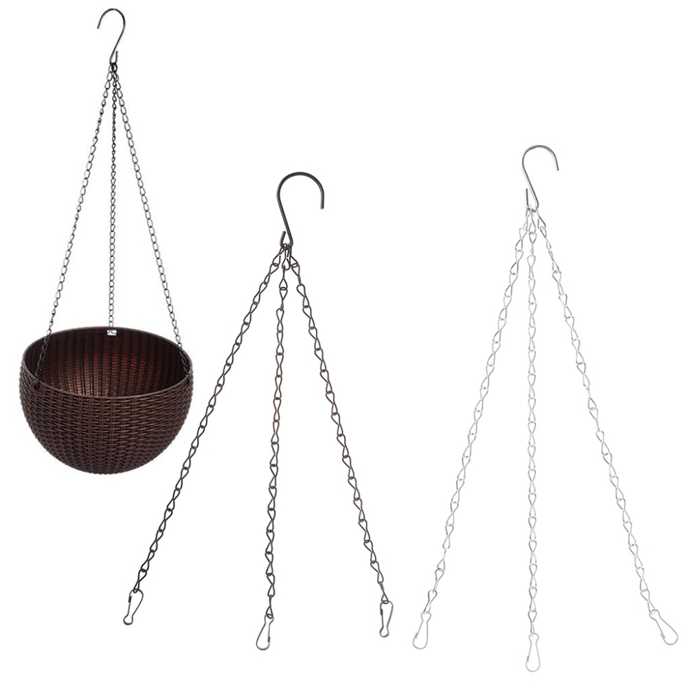 OOTDTY 3 Point Garden Basket Iron Hanging Chains 40CM S-shape Flower Planter Pots Holder Replacement