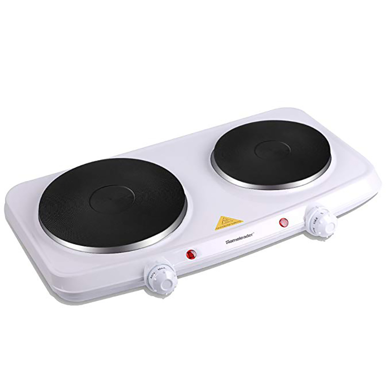 Homeleader Double Hot Plate 1500w Stainless Steel Portable Induction Cooktop Countertop Burner With Dual Temperature Control