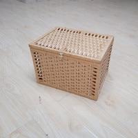 Handmade Woven Paper Basket With Lid Wicker Basket Home Office Organizer Knitted Desktop Makeup Storage box