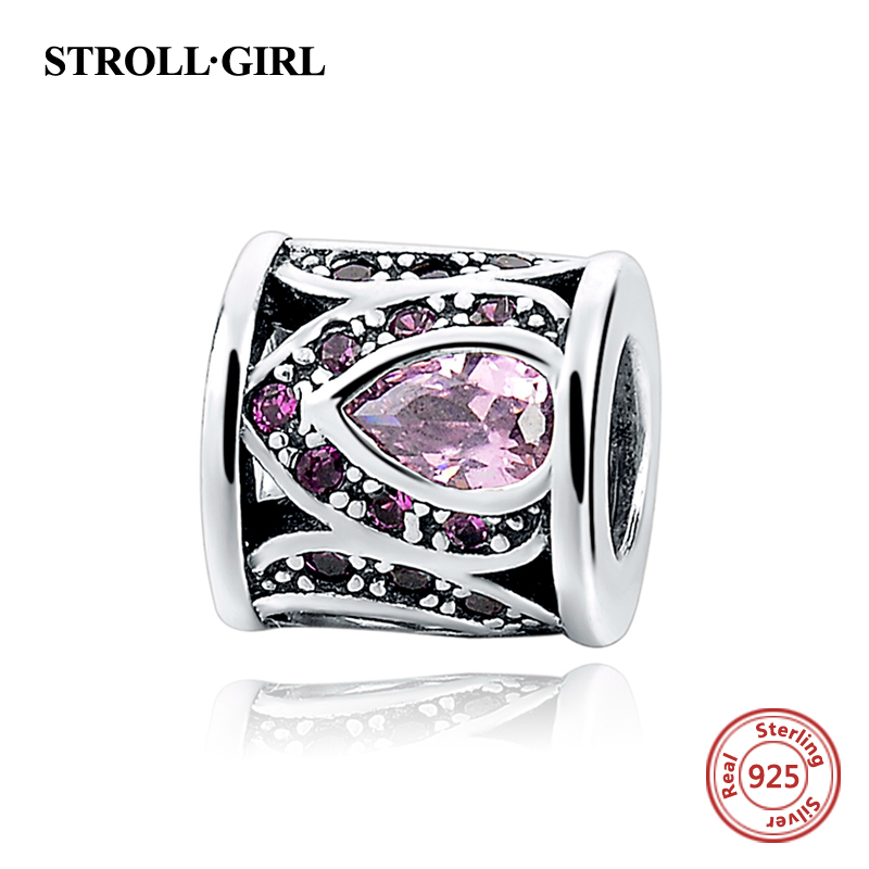 StrollGirl 100% 925 sterling Silver Charm Bead with purple CZ Fit Authentic pandora charm Bracelet pendant European Jewelry gift