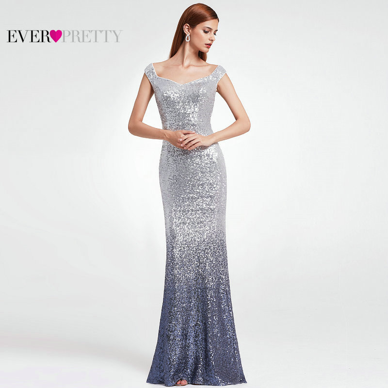 Ever-Pretty Sexy Women Vintage Long   Evening     Dresses   Elegant Bodycon A-Line Sequin Floor-Length V-Neck Plus Size   Evening   Gowns