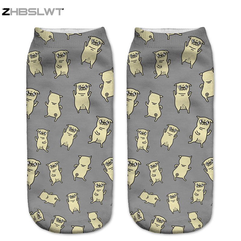 ZHBSLWT New Multiple Colors Harajuku Style 3D Printed Women   Socks   Low Cut Ankle   Socks   Pugs Dance Women's Casual   Socks   -LJ