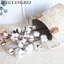 Rama con flores artificiales de algodón, decoración floral con 10 flores de algodón secas naturales para casa, fiestas o bodas