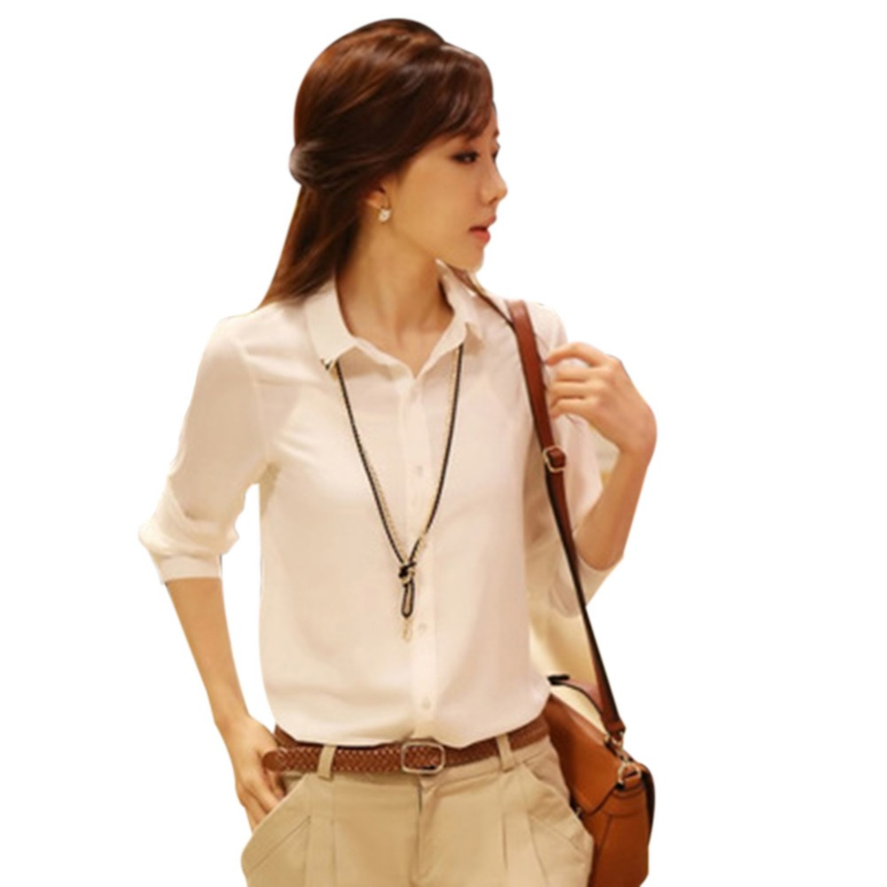 2017 new women white shirt turn down neck casual tops for New shirt style for girl