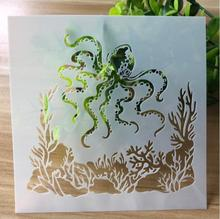 Stencils Squid DIY Scrapbooking Photo Album Decorative Embossing Bullet Journal Stencils Paper Craft Template For Painting Wall 6pc template stencils for painting and decoration scrapbooking photo album decorative embossing wall bullet journal stencils