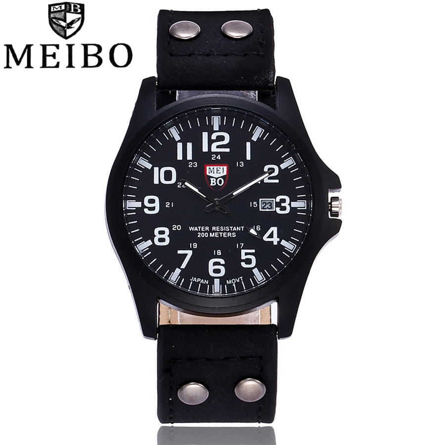 MEIBO Brand New Fashion Men Wrist Watches Casual Leather Military Watch Analog Quartz Watch Relogio Masculino