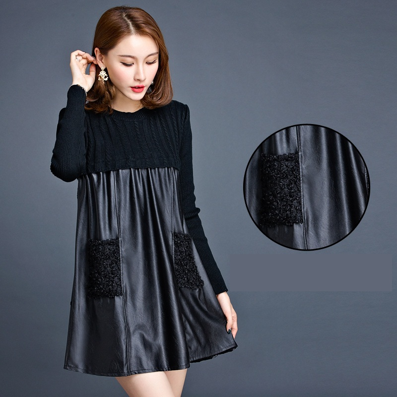 1df56650530 4xl plus big size women clothing 2016 spring autumn winter knit long thin  long-sleeved black stitch sweater dress female A2084