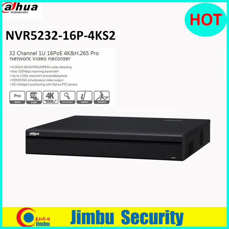 Dahua NVR5232-16P-4KS2 32CH 1U Pro Network Video Recorder 4K&H.265 Up to 12Mp resolution preview&playback with 16POE ports